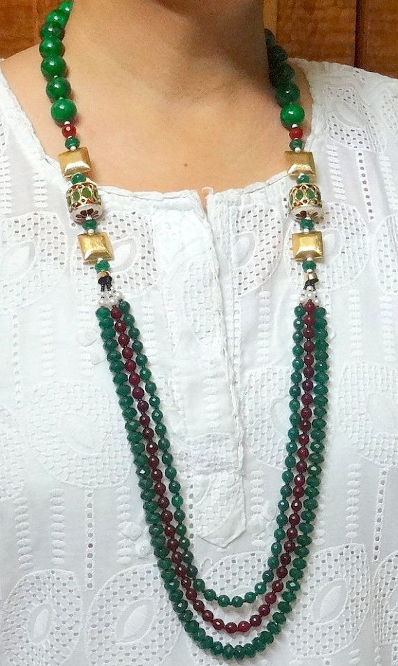 Indian Kundan Statement Necklace Onyx Beads Statement by uDazzle