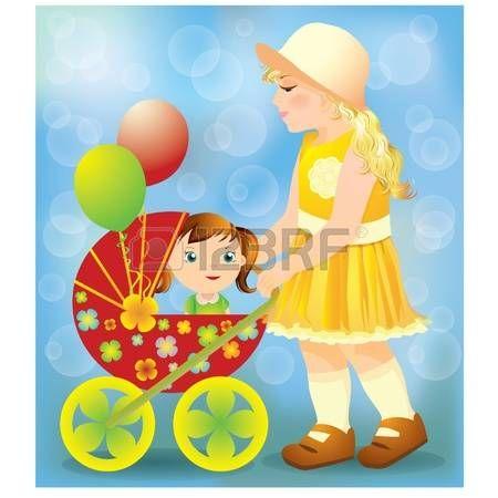 BAMBINO CHE GIOCA CON LE BAMBOLE: Bambina, giocando con una carrozzina e doll, illustrazione vettoriale
