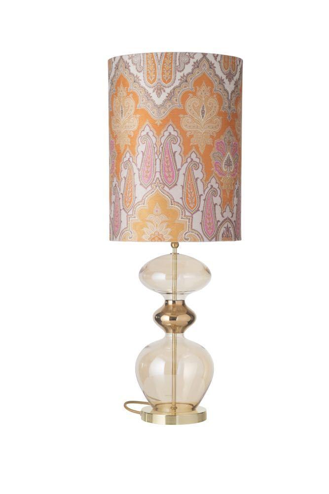 Golden Smoke Futura Table Lamp And Shade With Brocade Yellow Pink Lamp Lamp Shades Exclusive Lamp