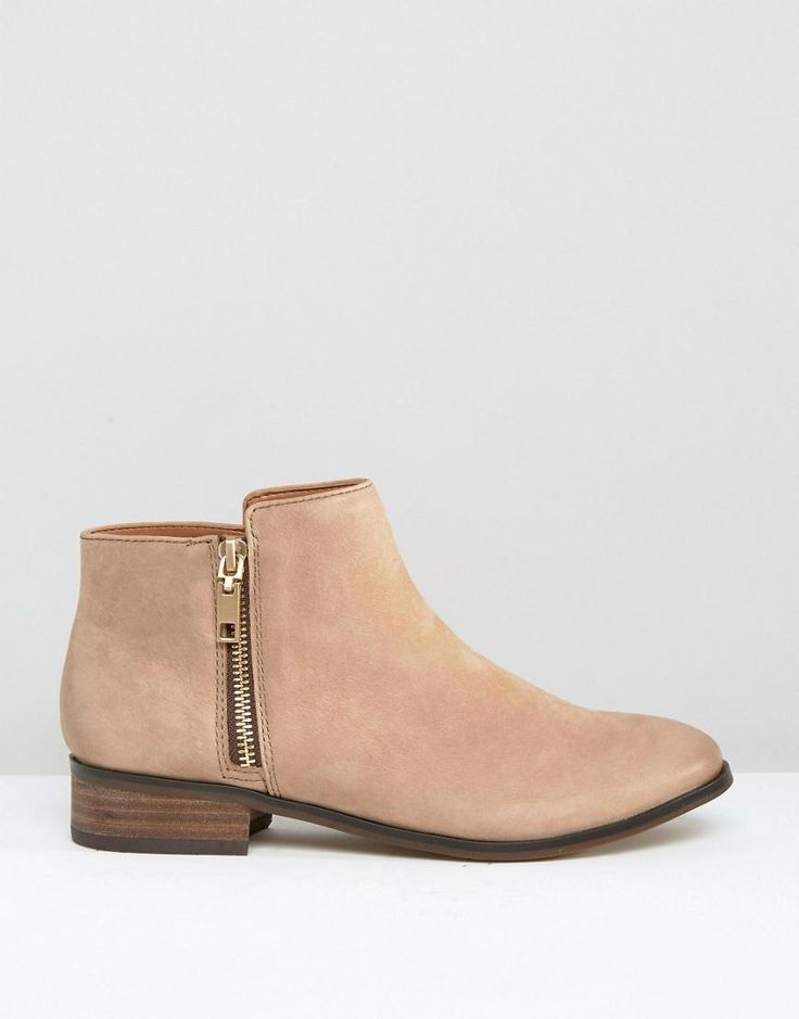 ALDO | ALDO Julianne Taupe Zip Flat Leather Ankle Boots at ASOS