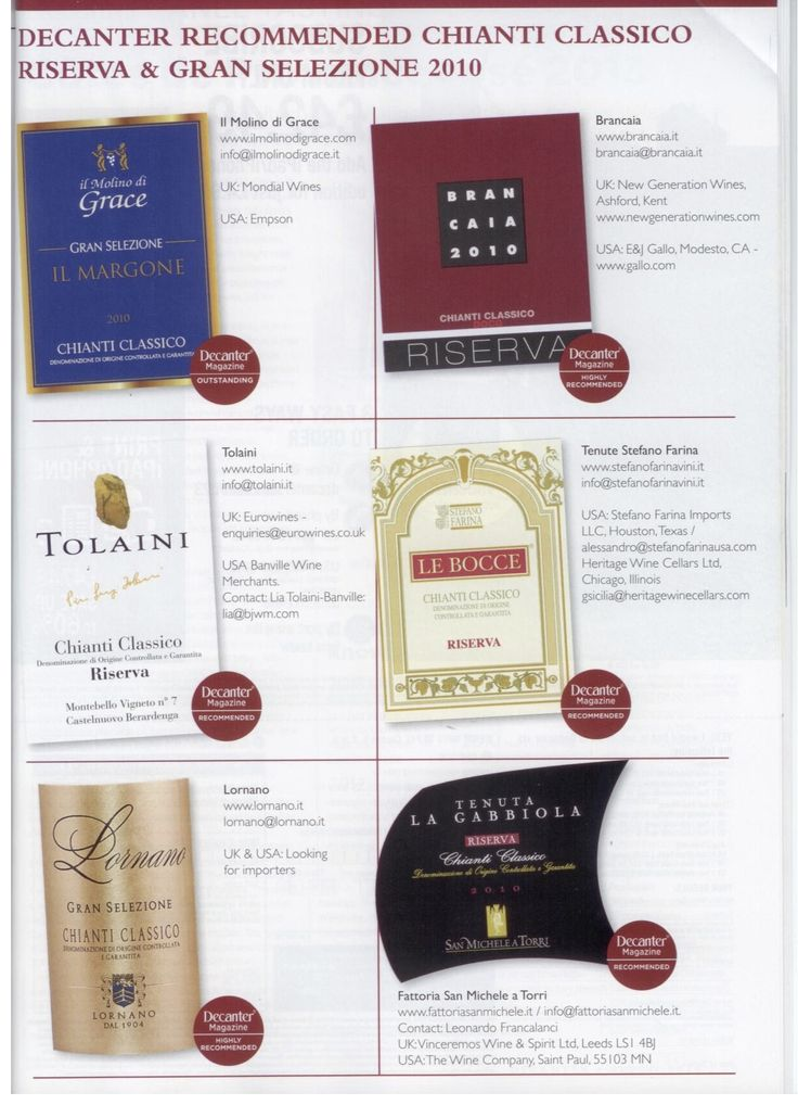 Tolaini Chianti Riserva 2010 has been recommended in Decanters Aug 2014 edition