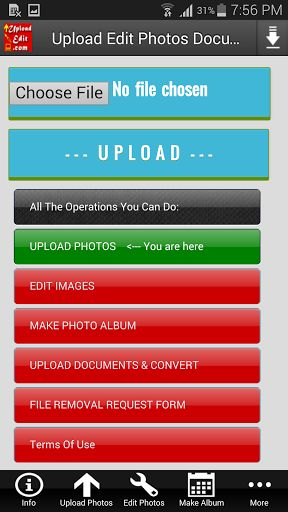 Upload Edit Photos & Documents v2.0   Upload Edit Photos & Documents v2.0Requirements:2.3 and upOverview:Welcome To UploadEdit.com's Mobile Application ! By using this app you will be able to upload your images or documents onto the Internet freely and easily. And you will be able to do various operations on your images and docs.  For using this app you need an internet connection. Once you connect to the internet you can do the following operations with this app:   Upload (send post share)…