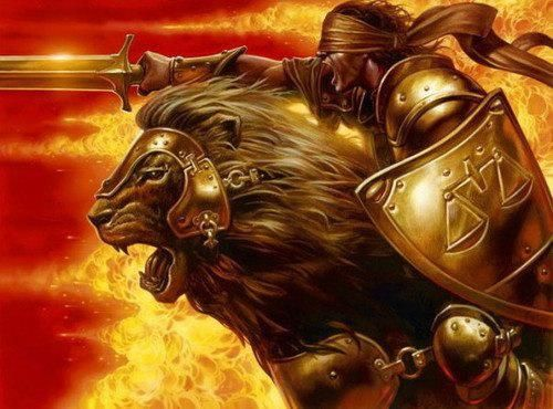 Ephesians 6:10-end and all that the Lion of Judah will do for you and WITH you there, if you just put on His weapons and accept Him as Lord. - DdO:) - http://www.pinterest.com/DianaDeeOsborne/words-of-life/ - La force du roi Jesus. (The power of King Jesus.) The gold Lion and blinded but fully equipped fighter going to battle against Evil. Orange and gold art work from El Shaddai Metal Blanc.