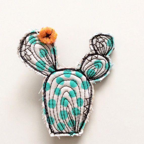 Aqua thread drawn cactus brooch