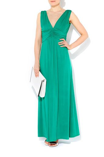 Green Satin Maxi Dress #WallisFashion