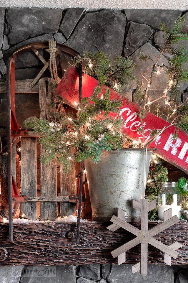 vintage sleigh, wooden snowflake, Sleigh Rides christmas sign for a Christmas mantel / funkyjunkinteriors.net
