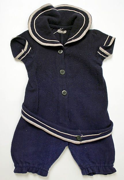 Child's blue wool bathing suit, American, 1910.