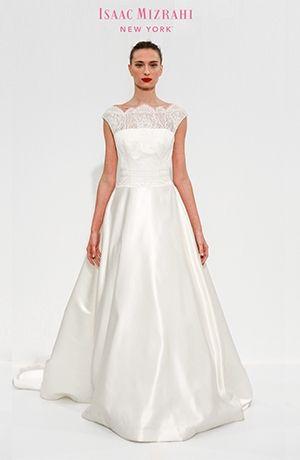 Bridal Gowns: Isaac Mizrahi A-Line Wedding Dress with Bateau Neckline and Natural Waist Waistline