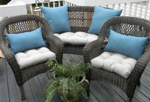 Superior Wicker Cushion And Pillow 7 Pc Set   Solid Gray Cushions With Peacock Teal  Solid Pillows