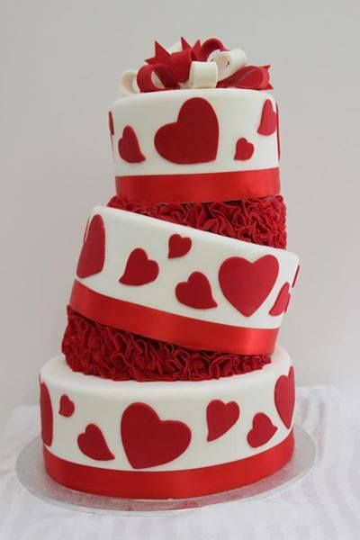 A funky red and white theme, with ruffles and red hearts