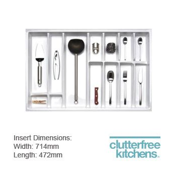 Contemporary silk white cutlery tray 800mm – plastic drawer trays for Blum soft close metal drawers, shop the latest in cutlery trays for kitchen drawers online