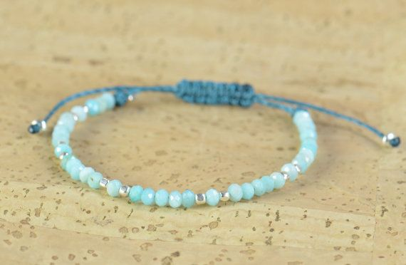 www.etsy.com/shop/Zzaval Bracelet made with blue amazonite and sterling silver beads Suitable for any size of wrist with adjustable knot This is made on teal thread but you can choose any color of thread from last picture. If you like other bracelet on wrist picture please go to: