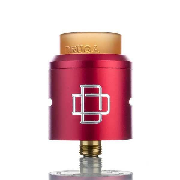 Augvape Druga RDA es un atomizador de goteo reconstruible visualmente impresionante. Posee una cubierta y una base plateadas de oro de 24K.