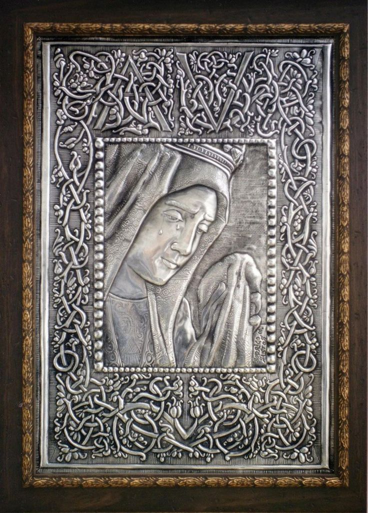 OUR LADY OF SORROWS - AYAMONTE (SPAIN) by arteymetal on deviantART Embossed tin work. Our Lady of Sorrows, Patroness of Ayamonte.  Dimensions: 40 x 30 cm. - In Ayamonte (Huelva).