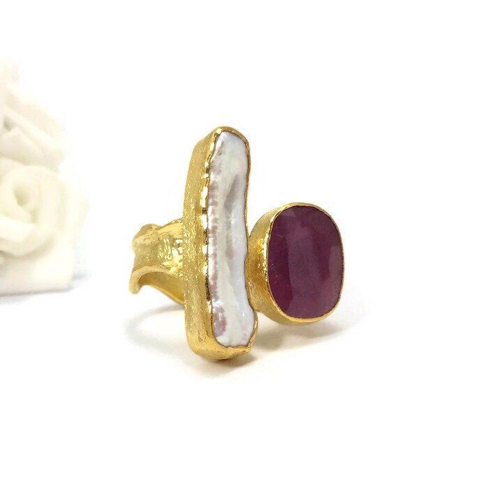 Ruby Ring, Fresh Water Pearl Ring, OOAK Ring, Gemstone Ring, Pearl Ring, 24K Gold Plated Ring, Cocktail Ring, Two Stone Ring by KastoniJewels on Etsy https://www.etsy.com/listing/228823260/ruby-ring-fresh-water-pearl-ring-ooak