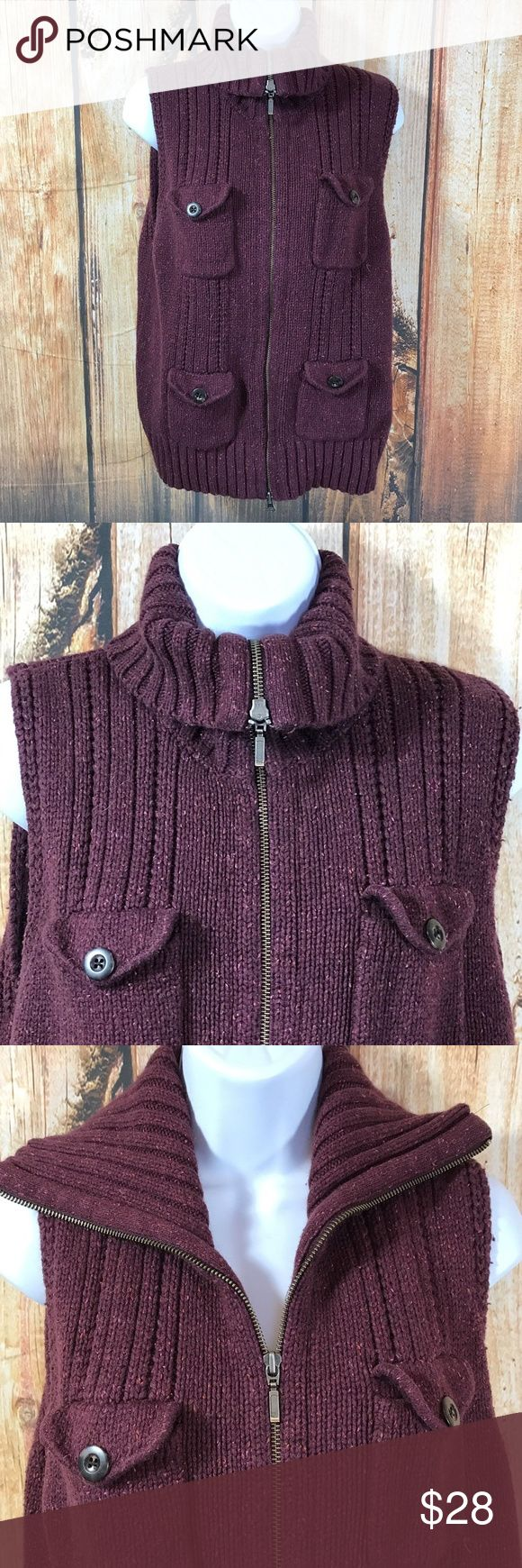"""Eddie Bauer Cotton Angora Knit Zip Vest Sweater Eddie Bauer  Zip up  Cargo pockets with button  closure  Ribbed collar, hem  Color is a maroon or purple with flecks of orange  58% Cotton,21% Nylon,16% Viscose,5% Angora Rabbit  Size Large  Measures about  18.5"""" across bust  Measures about  22"""" long from center back  Sleeves measure about  """" long from shoulder seam to cuff hem  Gently worn, good condition Eddie Bauer Sweaters Cowl & Turtlenecks"""