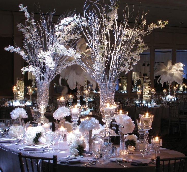 4 Of The Best White Winter Wedding Themes Wedding Ideas: Winter Wedding Centerpieces In Crystal Vases