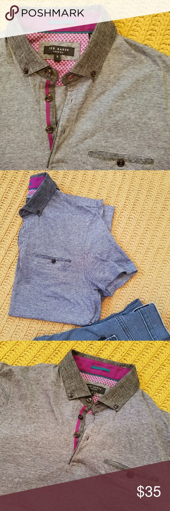 NWOT Ted Baker polo shirt NWOT Great gray stripped polo shirt by Ted Baker. Ted Size 3 (size medium)  PERFECT CONDITION Shirts Polos