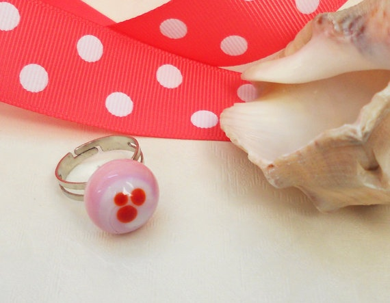 Handmade pink glass ring  red spotted by asteriascollection, $13.00