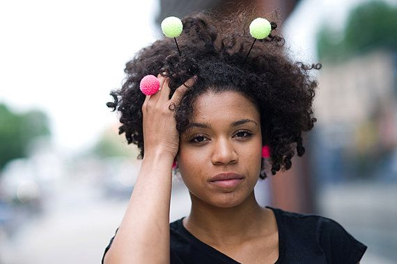 handmade bee headband with yellow pompoms fluorescent by bimabejbe, €11.00