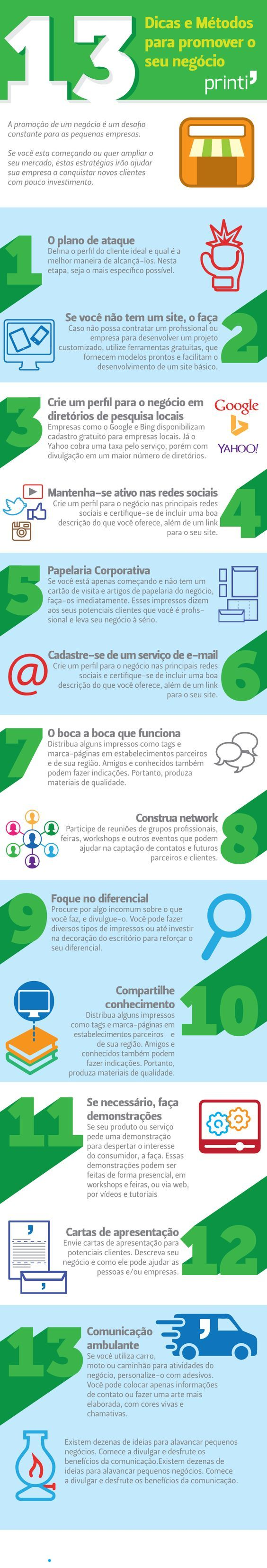 Infográfico - 13 Dicas e Métodos para promover o seu negócio