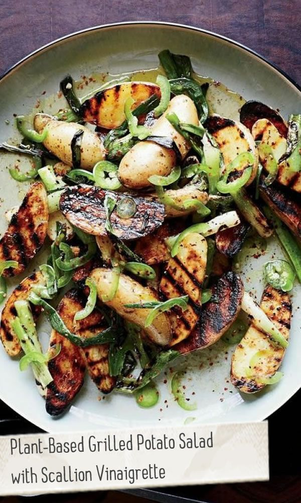 Plant-Based Grilled Potato Salad with Scallion Vinaigrette  vegan, plantbased, Earth Balance, Made Just Right