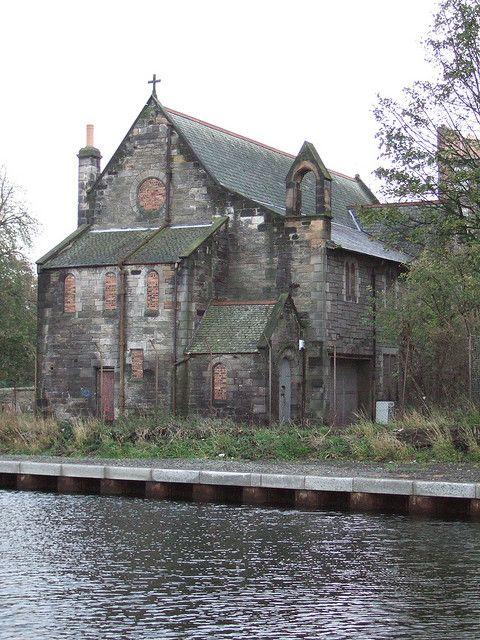 A derelict Kirk Canal church in Edinburgh, Scotland.