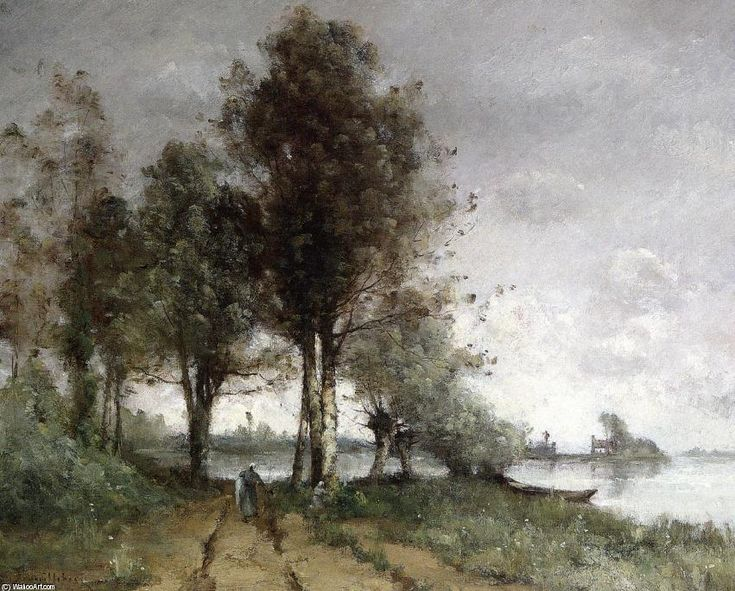Chemin sur les rives de la Seine, huile sur toile de Paul Désiré Trouillebert (1829-1900, France)