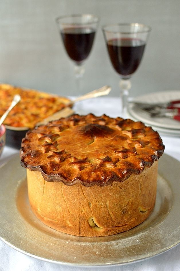 Impressive hand raised vegetarian hot water crust pastry nut roast pie, perfect for Christmas.