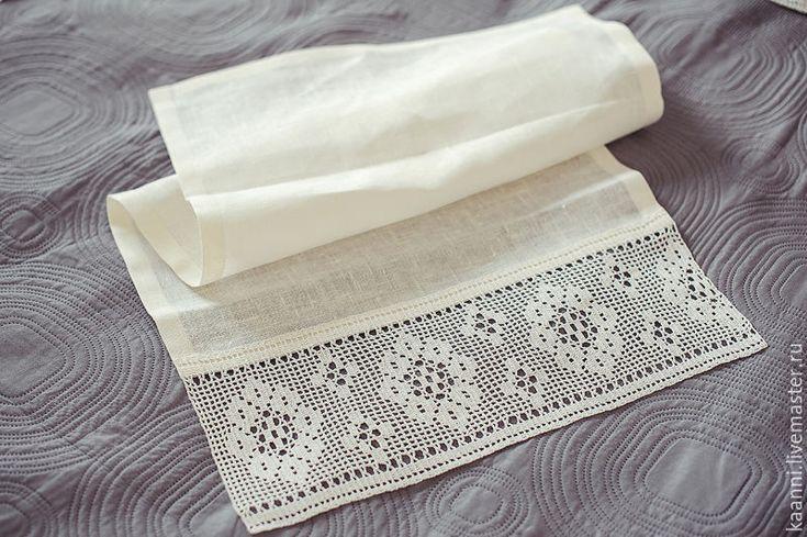 Купить Льняное полотенце с кружевом ручной работы - льняное полотенце, кружево ручной работы