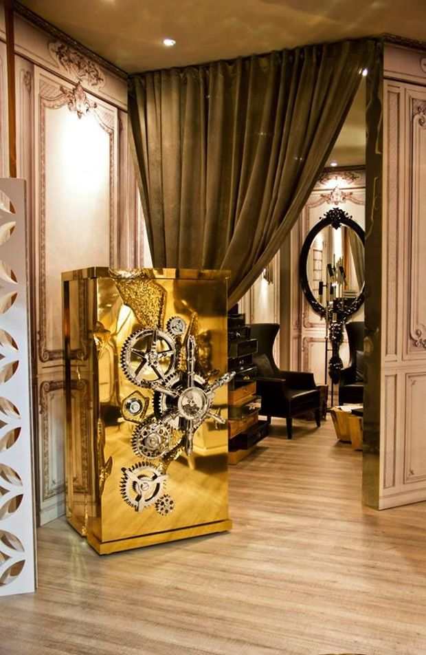 MILLIONAIRE LUXURY SAFE - Lockable drawers and a whole structure in mahogany, coated in highly polished brass and dipped in gold, this is a piece of indisputable value. | See more: www.bocadolobo.com #bocadolobo #furniture #safe