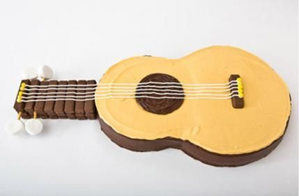 Sweet! How to make a guitar birthday cake with chocolate-covered wafer cookies. Easy, step-by-step recipe, diagrams and pictures