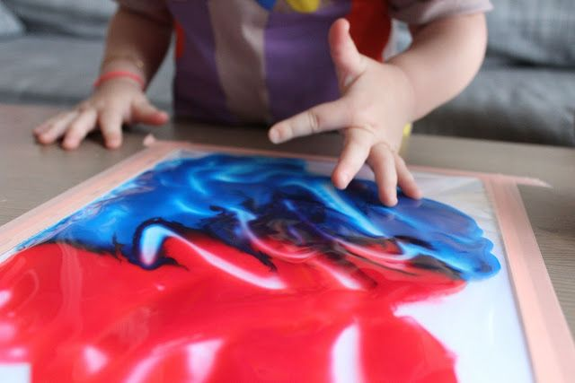 J'ai trouvé sur pinterest cet atelier de peinture. met une feuille blanche dessous (la feuille n'est pas dans la pochette mais bien dessous) et on scotche comme une dingue, pour que ça ne sorte pas de la pochette! Il n'y a plus qu'à laisser libre cours à l'imagination… Succès garanti! c'est moi qui te le dis! Violette a littéralement adoré! Elle était très étonnée de ne pas avoir de peinture sur les doigts.