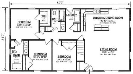R162132-1 by Hallmark Homes Ranch Floorplan