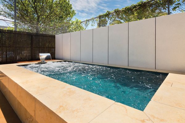 The Classique Courtyard Series pool by Albatross Pools located at the Dandenong Display Centre measuring 5.0m x 2.5m elevated 600mm above natural ground level surrounded in limestone.
