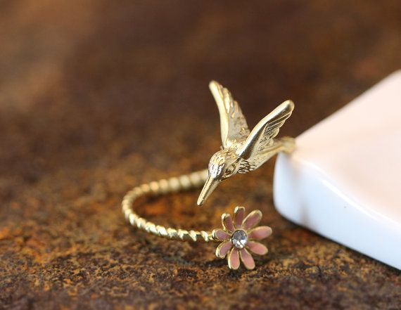 Humming Bird W Flower Ring Womens Girls Animal Ring