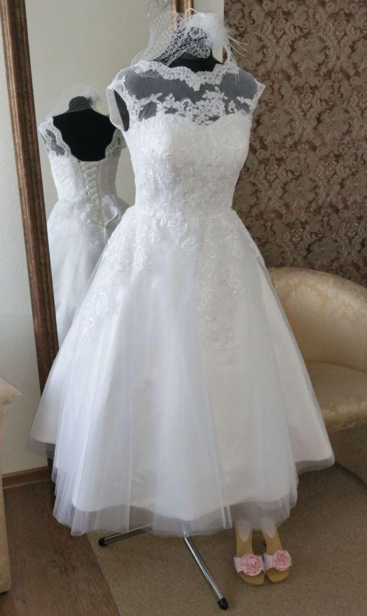 krátké retro svatební šaty bílé rockabilly 60´s - plesové šaty, svatební šaty, společenský salón