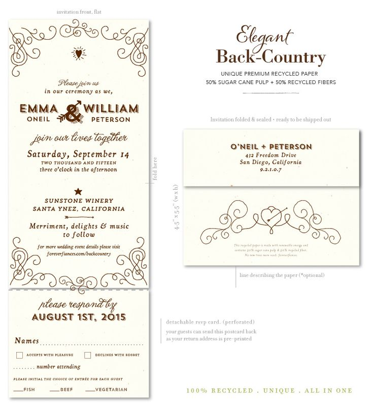 Wood Vintage Wedding Invitations On All In One Format, Great For Your  Guests. Easy