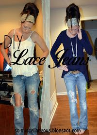 Holy denim! Easy lace patch for jeans.