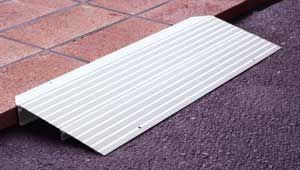 Aluminum Threshold Wheelchair Ramp for homes is designed for small elevation changes, such as doorway thresholds.