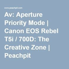 Av: Aperture Priority Mode | Canon EOS Rebel T5i / 700D: The Creative Zone | Peachpit