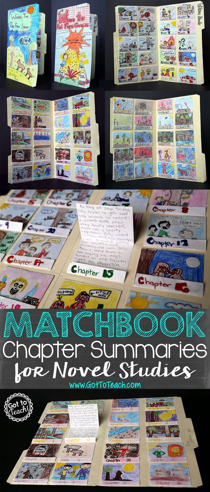 Matchbook Chapter Summaries for Novel Studies. This project is so simple, and you can do it with any novel. This example is for Where the Red Fern Grows.