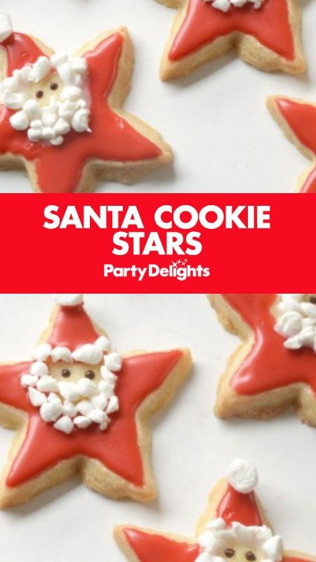 Looking for easy Christmas party food ideas? Have a go at making these cute Christmas biscuits - Santa cookie stars! Follow our easy Christmas cookie recipe to find out what to do.