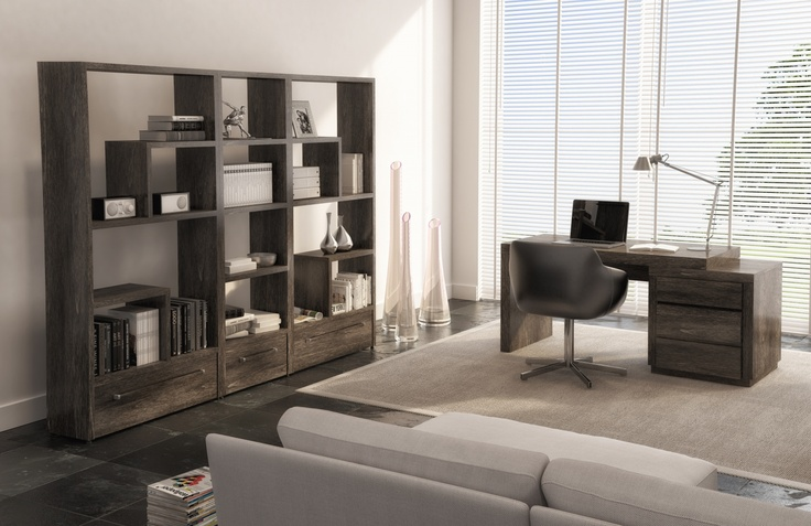 Manucfactured of Birch and shown in smoke. The bookcases are part of the 7700 collection.