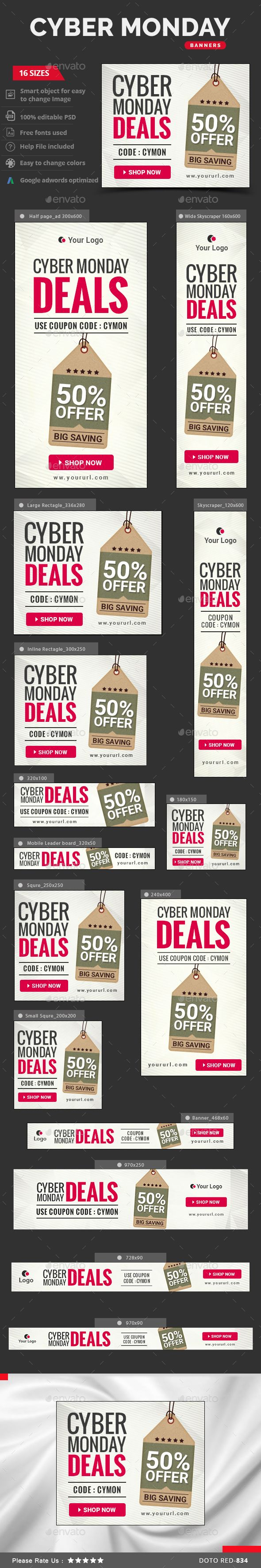 Cyber Monday Web Banners Template PSD #ads #design Download: http://graphicriver.net/item/cyber-monday-banners/13606504?ref=ksioks