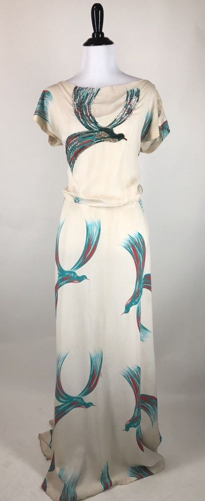 Vintage 1940s Gown Gilbert Adrian Sequin Bird Novelty Print Phoenix Dress | eBay