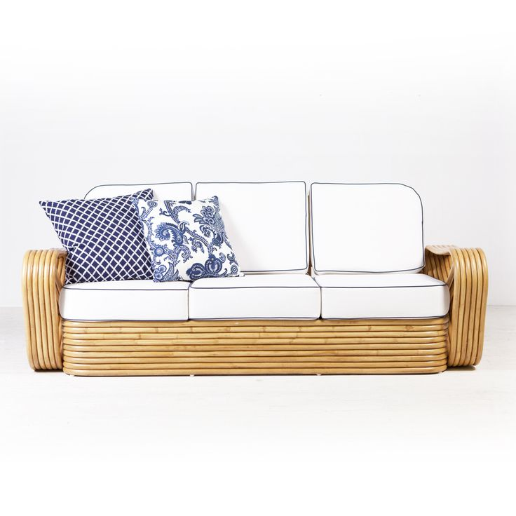 Frankl Sofa  Natural from Ambience Store. The Frankl range is a mid century style rattan collection, straight out of a 1960s Hollywood film. Made from quality rattan poles and available in any fabric, either indoor and outdoor. White, Natural and Tobacco frames available.