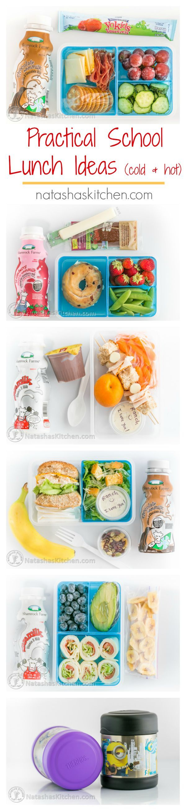 You'll want to pin these practical School Lunch Ideas. Cold and hot school lunches your kids will actually eat! #shamrockatwalmart #sk #ad | natashaskitchen.com