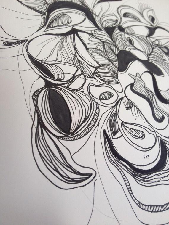 Série de 2 dessins à l'encre sur papier aux formes organiques et abstraites                                                                                                                                                                                 Plus