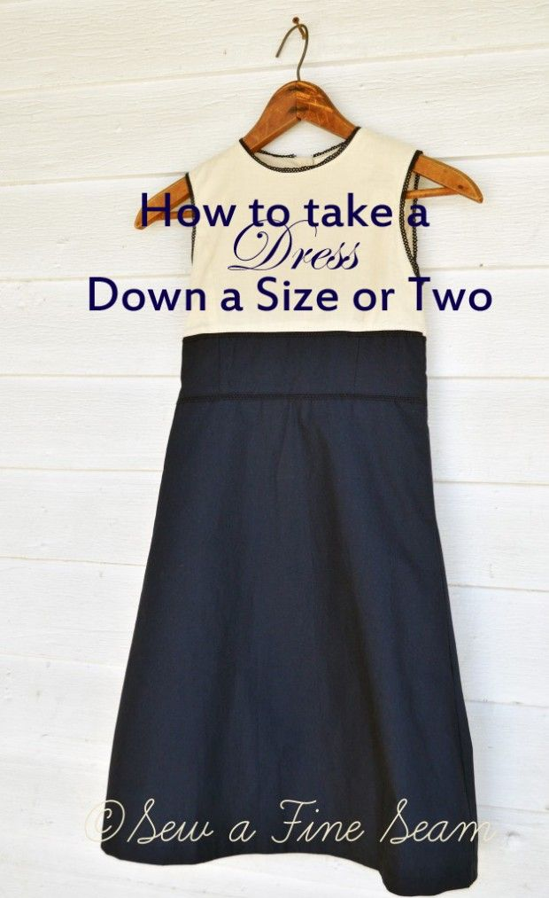 you can take a dress down a size or even two by taking in the side seam. Works well on kids clothes.  alterations